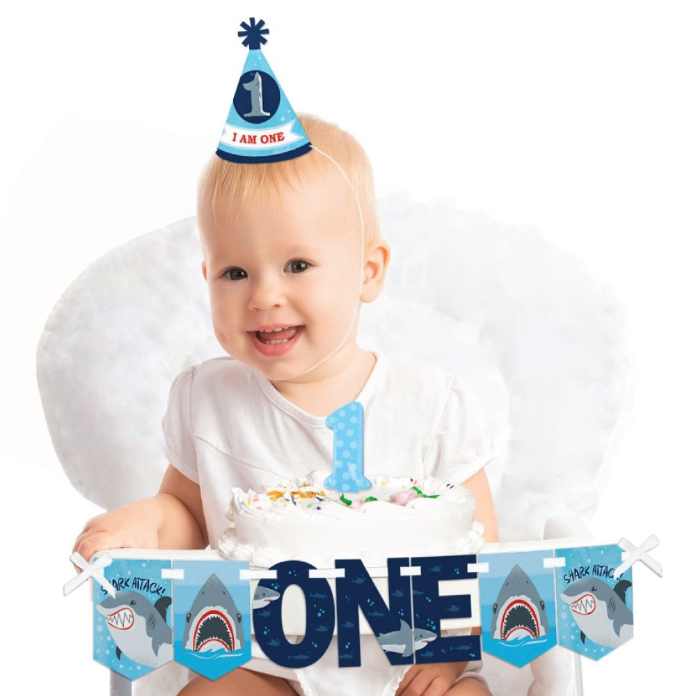 Big Dot of Happiness Shark Zone 1st Birthday - First Birthday Boy Smash Cake Decorating Kit - High Chair Decorations