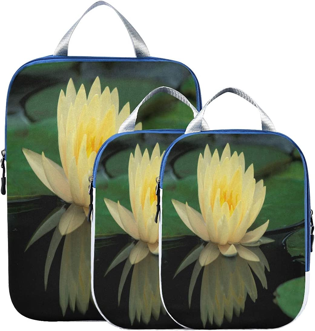 Packing Cubes 3 Pack Lotus Flowers Yellow Waterproof Travel Luggage-Organizer Set Packs for Carryon Luggage Suitcase /& Backpack