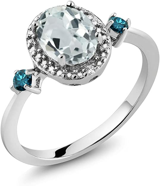 Round Cut Blue Diamond 1.24 CT  Engagement Wedding Ring 925 Sterling Silver