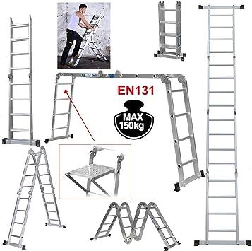 Escalera telescópica multiusos, 4,7 m, multifunción, plateada, 15,5 pies/4 x 4, escalera plegable de aluminio, escalera de extensión EN131, escalera de construcción con bandeja de herramientas: Amazon.es: Bricolaje y herramientas
