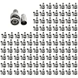 Evertech 100 Pcs BNC Crimp On RG59 Coax Coaxial Male Connector Adapter Plug Ends CCTV