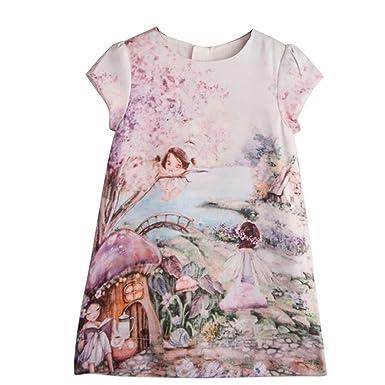 Sunward Summer Infant Kids Baby Girl Summer Princess Dress Vestidos Print Party Dress (2T,