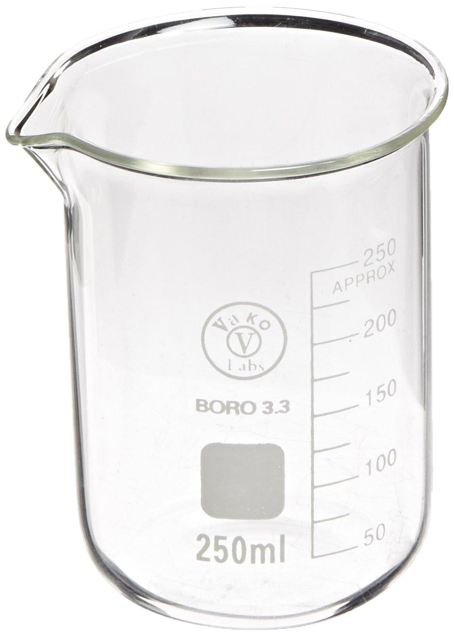 Ajax Scientific Borosilicate Glass Graduated Beaker, 250mL GL010-0250