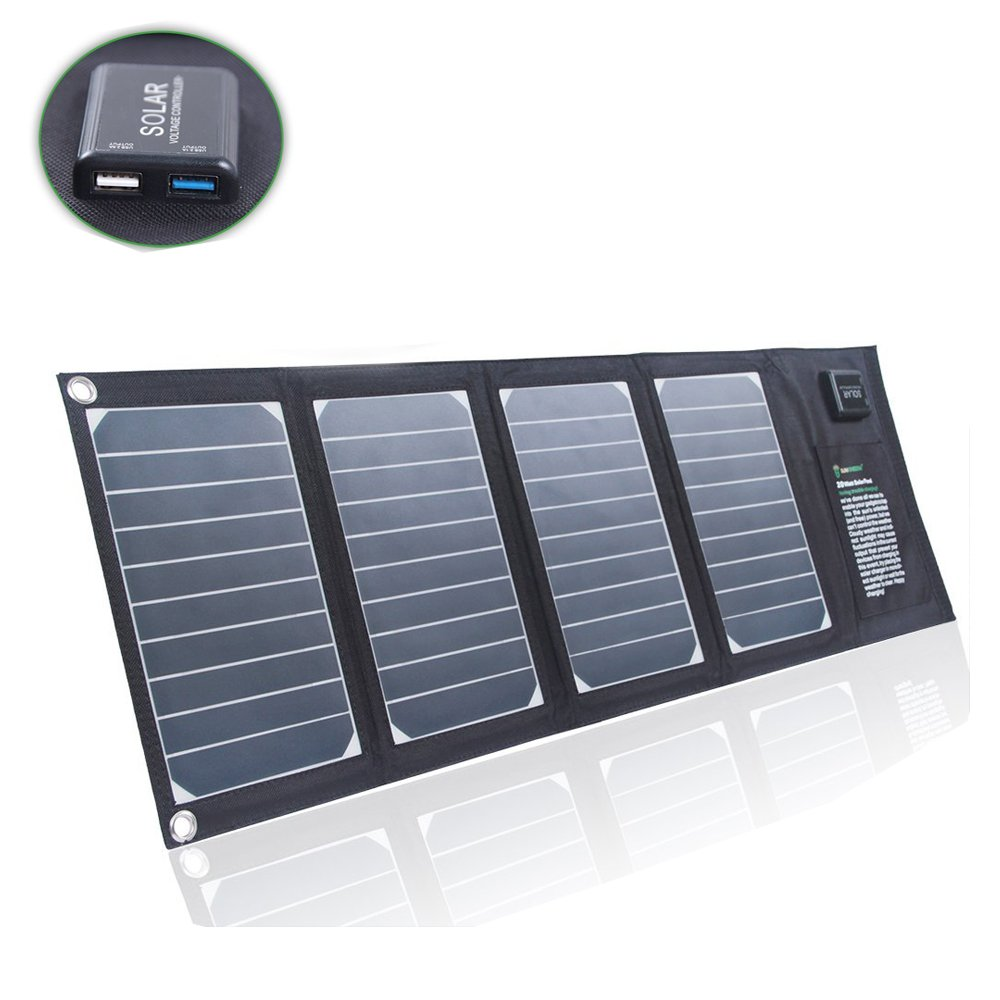 SUNKINGDOM™ 20W 2-Port USB Solar Charger with High-efficiency Portable Foldable Solar Panel PowermaxIQ Technology for iPhone, iPad, iPod, Samsung, Camera, and More (Black) IPOWER SOLAR INC. AMTCH20_B000019
