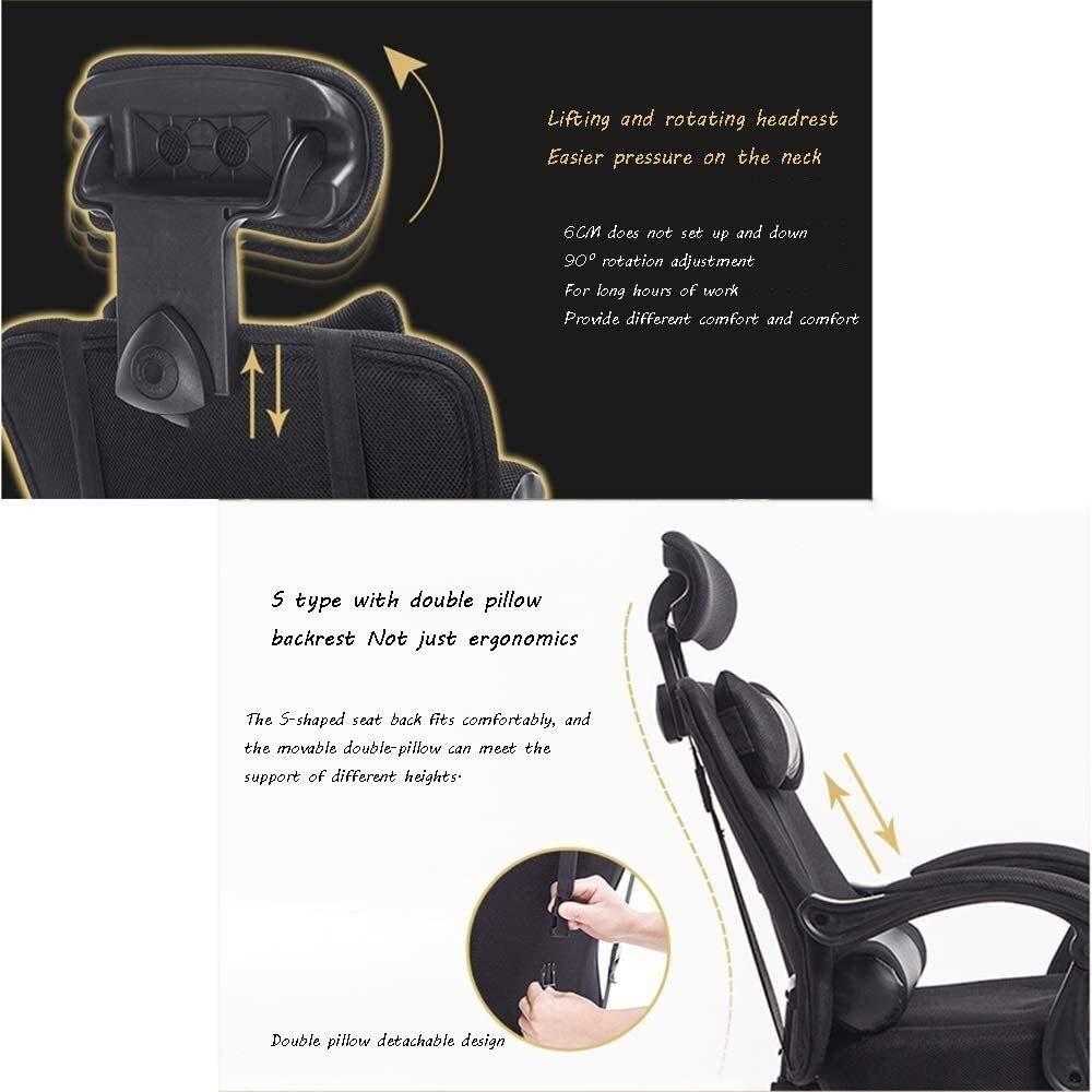 Svängbar stol kontorsstol, ergonomi avslappnande nätsäte lyft med fotstöd personal konferensstol hushåll lärande verkställande stol med nackstöd och ryggstöd (färg: svart) Svart