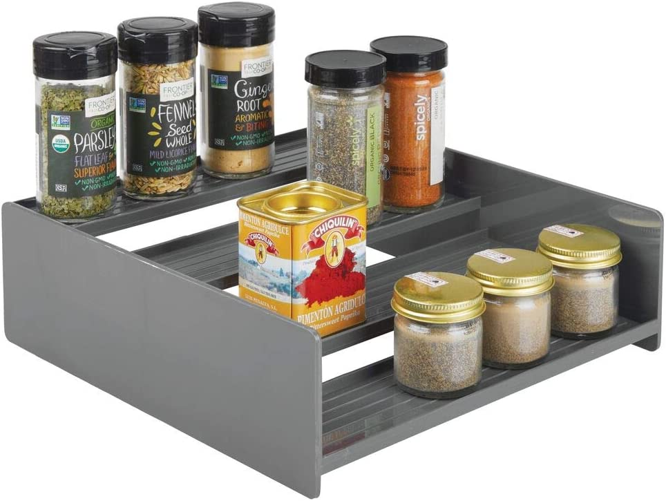 mDesign Plastic Kitchen Spice Bottle Rack Holder, Food Storage Organizer for Cabinet, Cupboard, Pantry, Shelf - Holds Spices, Mason Jars, Baking Supplies, Canned Food - 4 Levels - Charcoal Gray