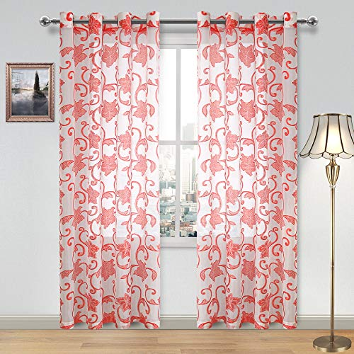 DWCN Floral Jacquard Sheer Curtains - Semi Voile Faux Linen Grommet Top Bedroom and Living Room Curtains, Set of 2 Window Curtain Panels, 52 x 84 Inches Long, White and Red