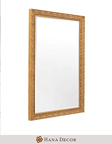Hana D cor Gold Leaf Mirror with Traditional Ornate Design 24 x 36 Solid Wood, Hand Finished, Easy Installation