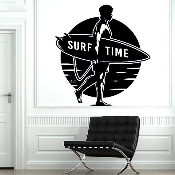 yaoxingfu Surf Time Wall Sticker Hombre con Tabla de Surf Conquer ...
