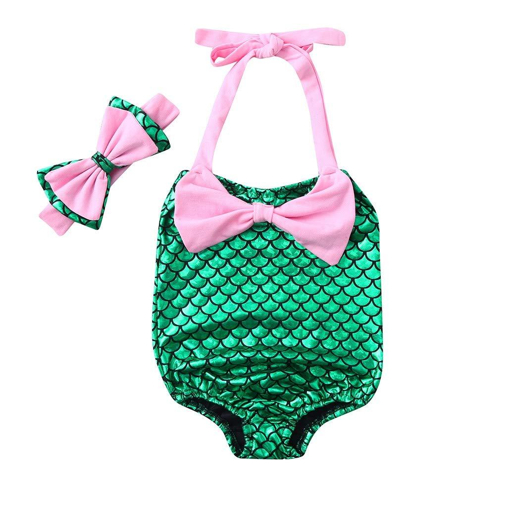 Lanhui Girls Bikini Beach Bowknot Print Swimsuit+Headbands Kids Swimwear Set Children