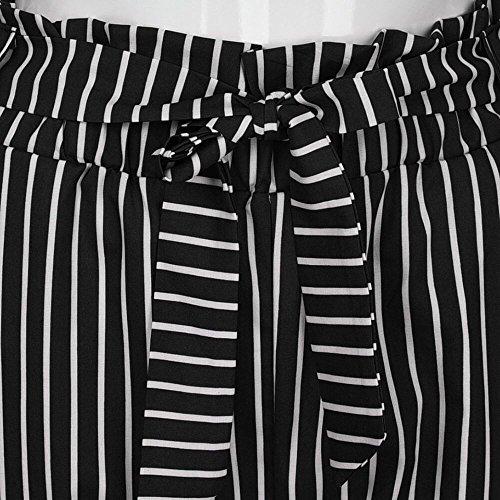 Nero In Bowtie Stripe Elastico Vita Alta Donne nbsp; Kobay Harem Pantaloni Casual YPqAUZ