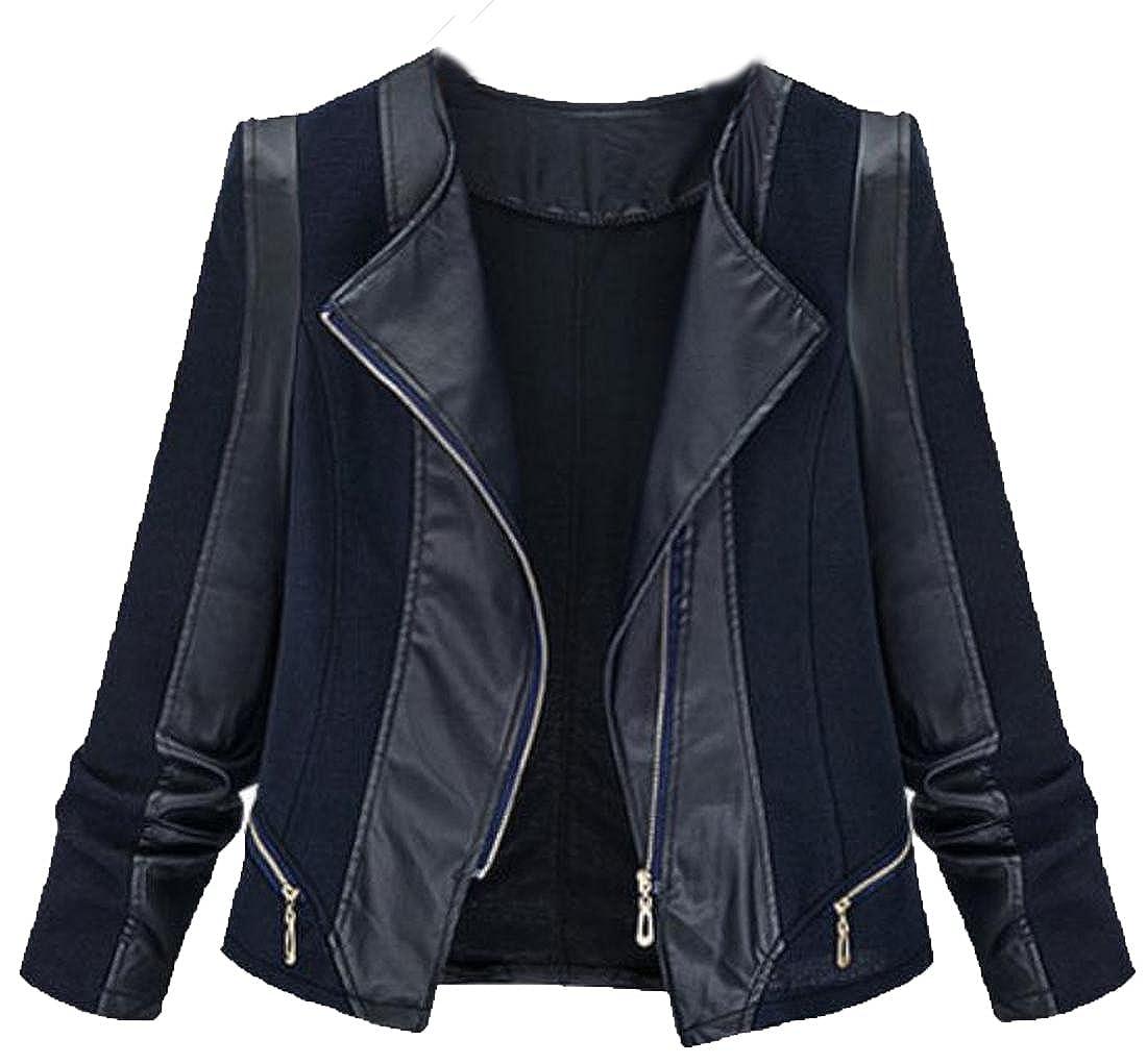EKU Women's Lapel Splicing Faux Leather Plus-Size Suit Jacket 3XL Black