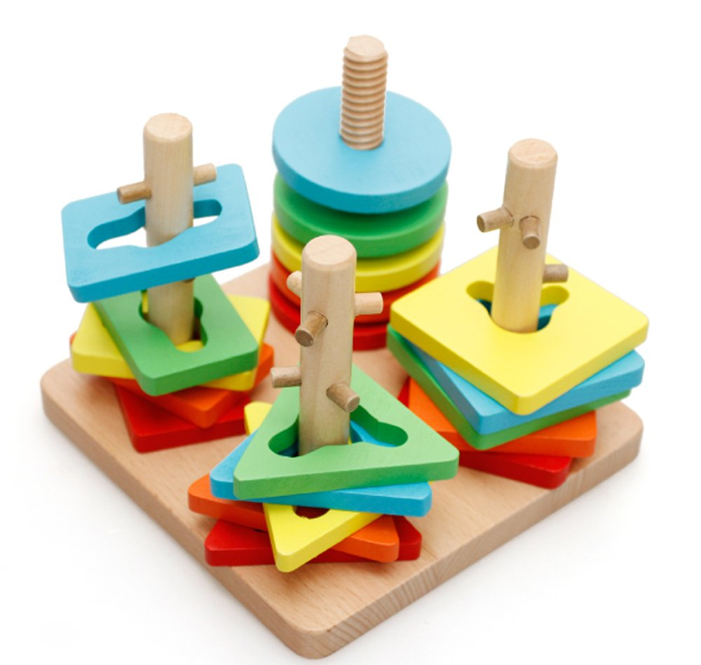 Lewo Colorful Creative Wooden Peg Puzzle Toys For Kids 12