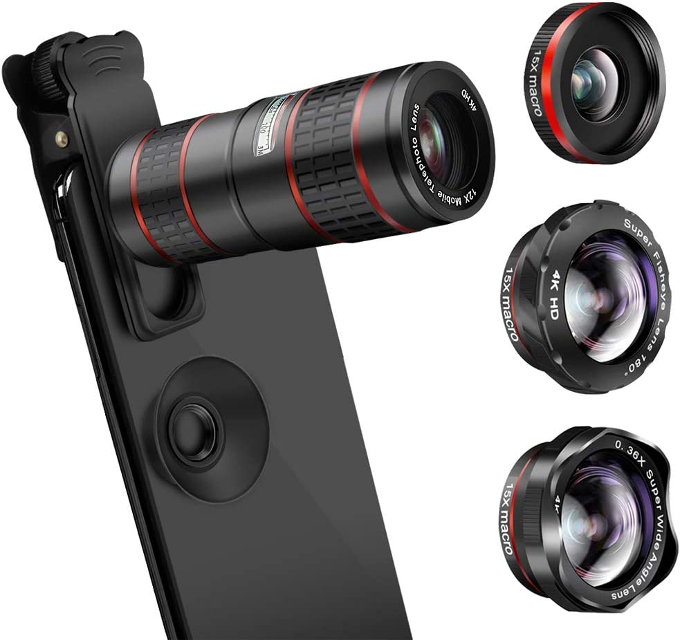 Phone Camera Lens, KNGUVTH 5 in 1 Cell Phone Lens Kit - 12X Zoom Telephoto Lens + Fisheye Lens + Super Wide Angle Lens+ Macro Lens Compatible with iPhone 11 Pro Max X XS XR/8/7/6/6s Samsung Android