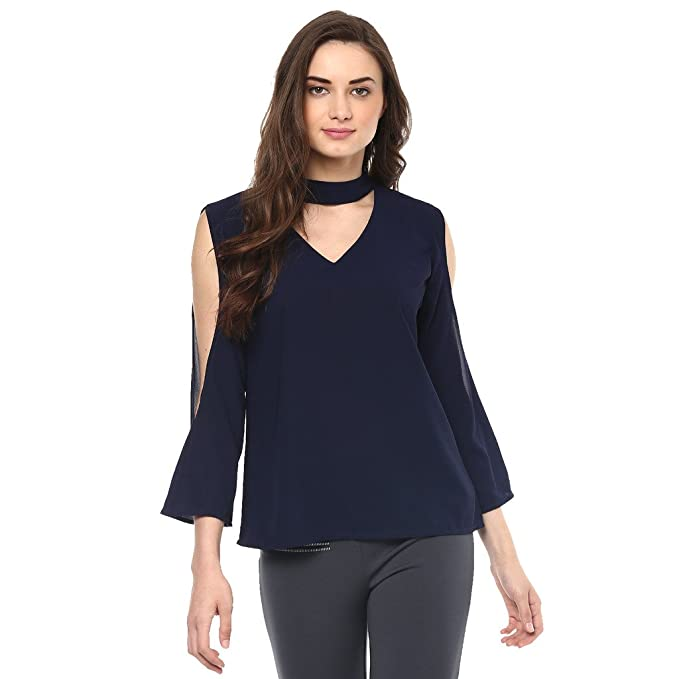f242186ea4fda Pannkh Neck Band Cold Shoulder Women s Top  Amazon.in  Clothing ...