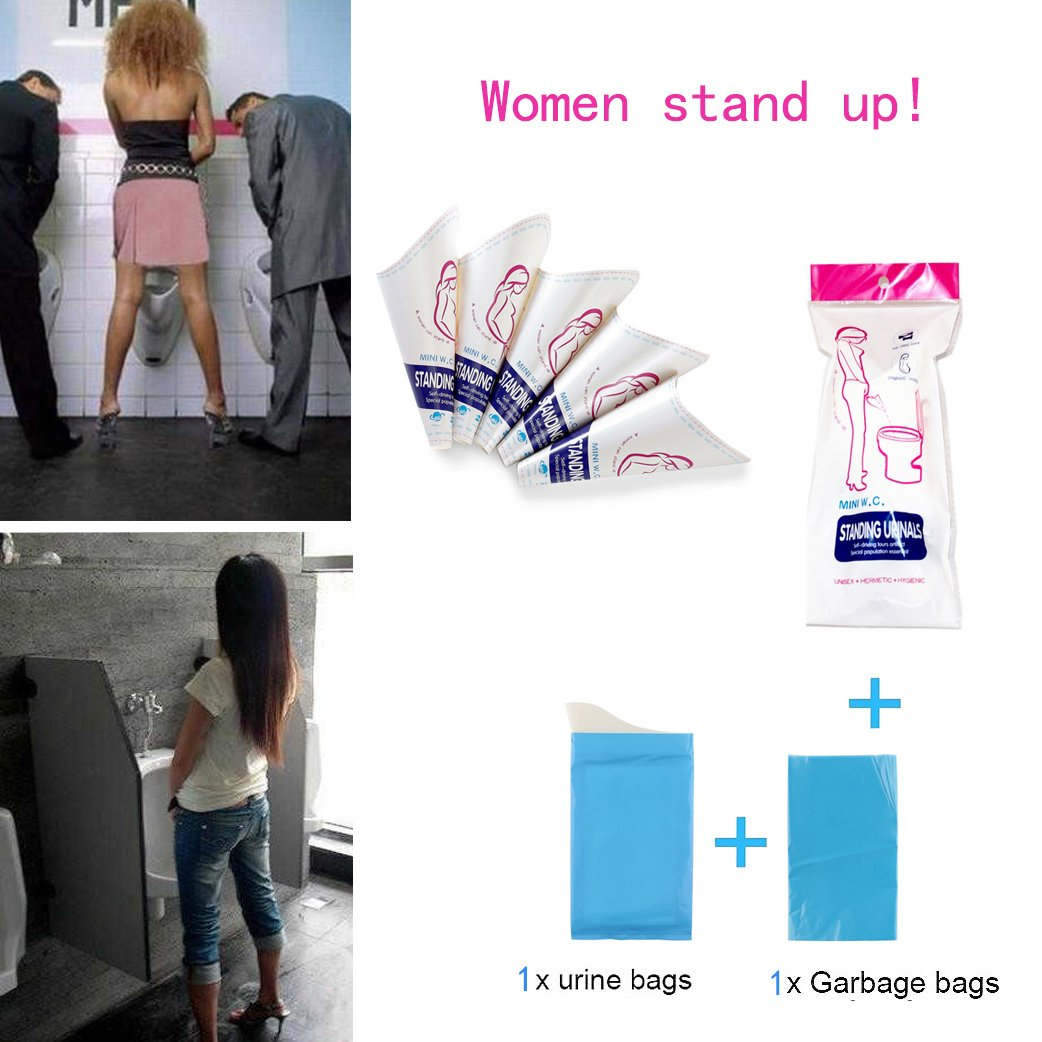 Women Lady Portable Urinal For Camping Travel Traffic Jam Includes urine bags Gift urine bags Female Portable Disposable Urination Device 30Pcs Pee Standing Up in Dirty Toilets with Urine Director Urinary Funnel GUFER 10