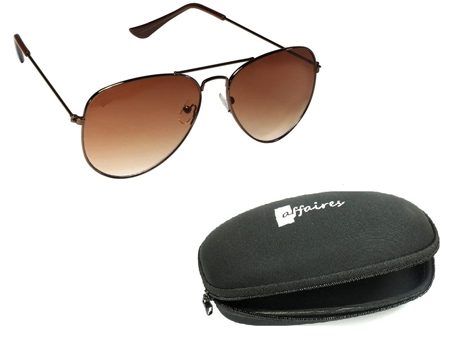 Affaires A-287 Aviator Sunglasses Brown-brown