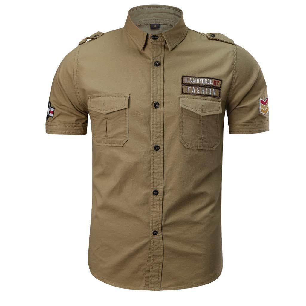 Bsjmlxg Mens Casual Fashion Military Pure Color Pocket Loose T-Shirt