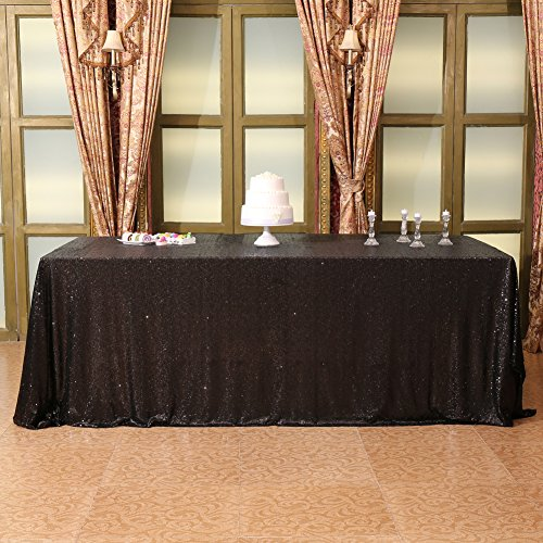 - Eternal Beauty 60'' X 102'' Black Sequin Tablecloth Wedding Banquet Party Rectangle Table Cover