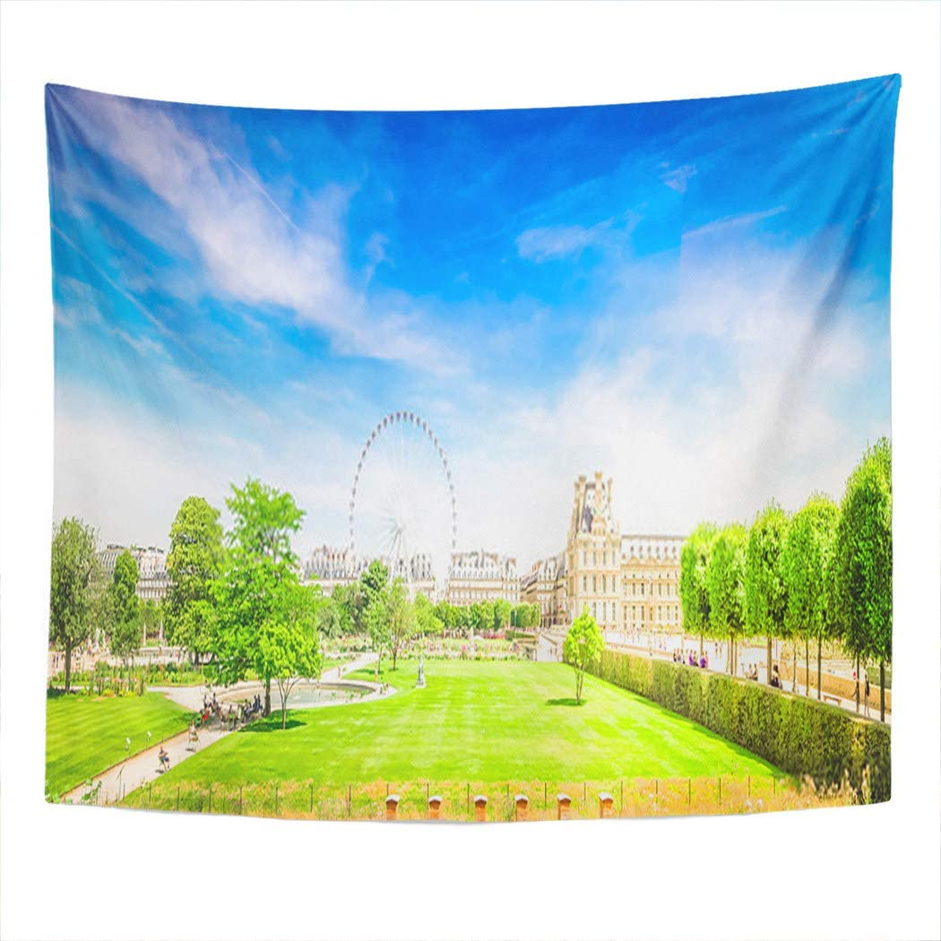 Xrknvf Tapestry Paris Tuileries Garden France Louvre Park Museum Travel Europa City Not Easy To Deform Comfortable And Environmentally Friendly Suitable For Bedroom Living Room Decoration 50x60 Inches