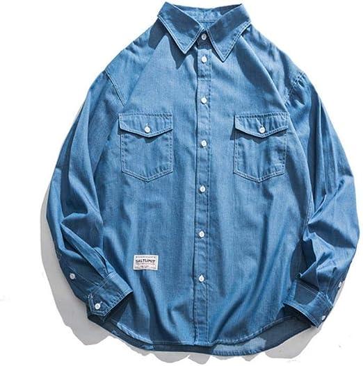 MLX-BUMU 秋のメンズシャツソリッドカラー多目的ベーシックポケットヒットカラーカジュアルデニム