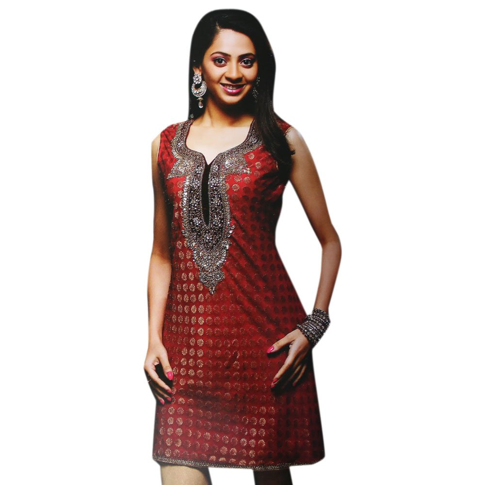 Jayayamala Red Cotton Tunic Scoop Neck Stone Work Party Dress (m)