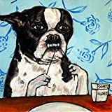 Boston Terrier flossing bathroom decor dog art tile Review and Comparison