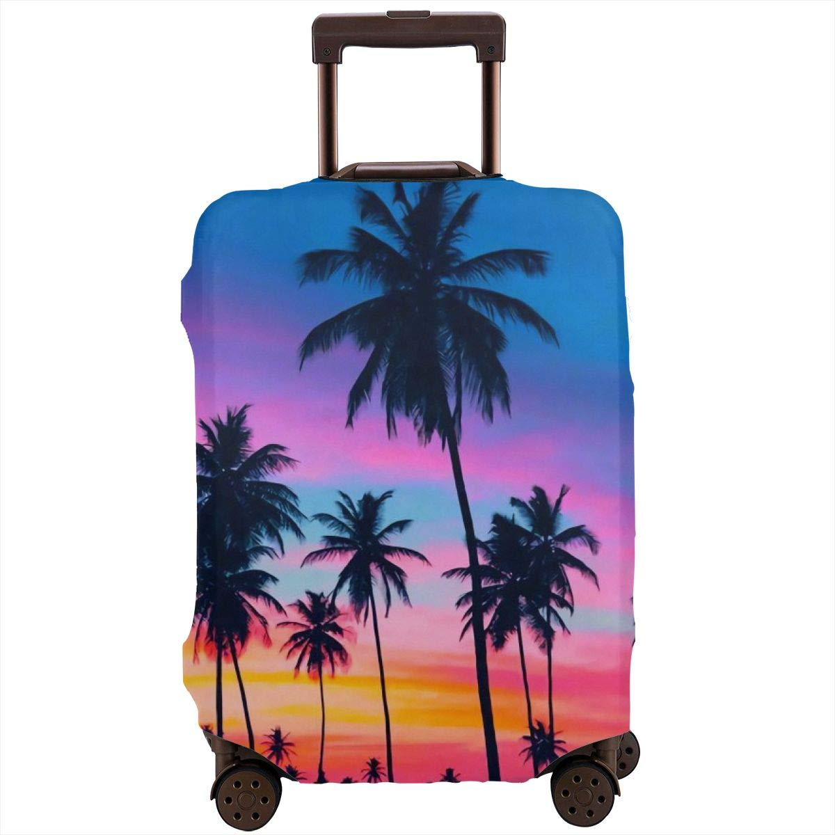 Washable Spandex Travel Luggage Protector Print Baggage Suitcase Cover Palm Trees By The Sea Dusk Fits 18 To 32 Inch