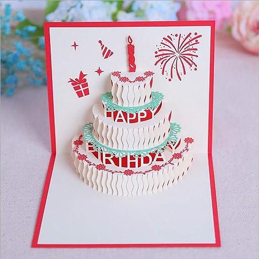 Enjoyable Yumuymey 10 Pcs Happy Birthday Cake Pop Up Greeting Card 15Cm X Personalised Birthday Cards Cominlily Jamesorg