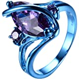 "RongXing Jewelry New Purple Cz Ring,Gold-Plated-Copper blue ""S"" Rings"