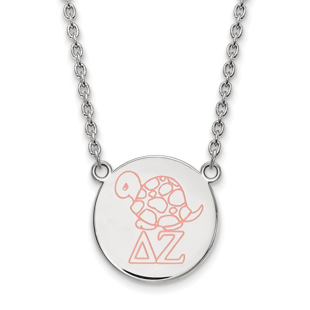 Greek Sororities Sterling Silver LogoArt Delta Zeta Large Enl Pend with Necklace Size One Size
