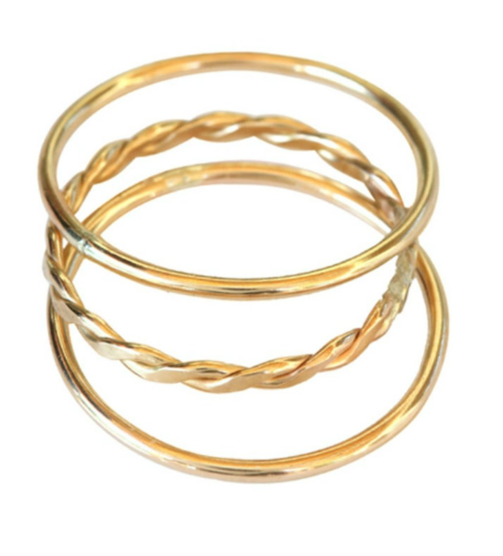 14k Gold Filled Plain Braid Thin Band Toe Ring Pinky Finger Midi Knuckle (3) by California Toe Rings