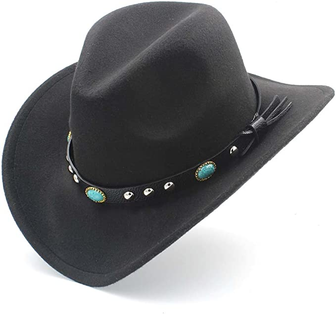 Jdon-hats, Womens Fashion Western Cowboy Hat with Roll Up Brim Felt Cowgirl Sombrero Caps, (Color : Black, Size : 56-58CM) at Amazon Women's Clothing store