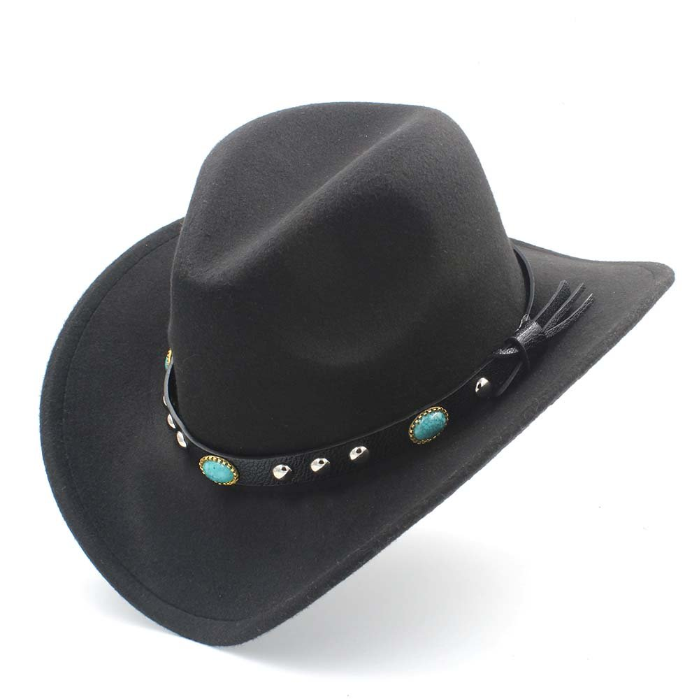 Ping-hats,, Fashion Women Men Western Cowboy Hat with Roll up Brim Felt Cowgirl Sombrero Caps (Color : Black, Size : 56-58CM)