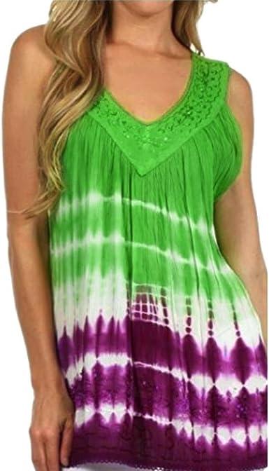 Switchali Camisas Mujer Verano 2017 Casual Moda Blusas sin Mangas Camisas Mujer Tallas Grandes Ropa de Mujer en Oferta Vestidos de Fiesta Camisa Hawaiana Funky Chalecos Mujer (Medium, Verde): Amazon.es: Ropa y