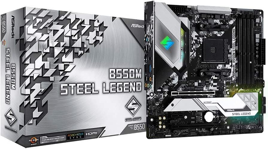 ASRock B550M Steel Legend Supports 3rd Gen AMD AM4 Ryzen/Future AMD Ryzen Processors Motherboard