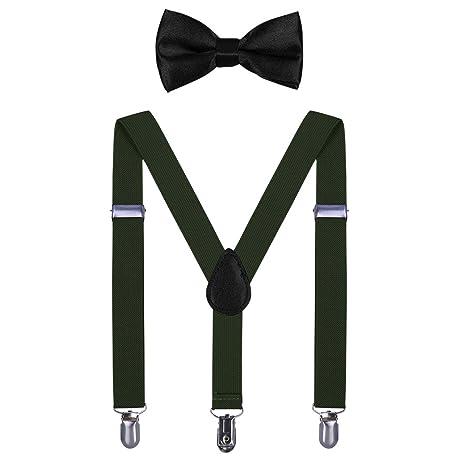 AWAYTR Kinder Hosenträger Krawatte Set -Einstellbar Länge 2.54cm Straps Mit Bogen Krawatte Set Für Jungen und Mädchen