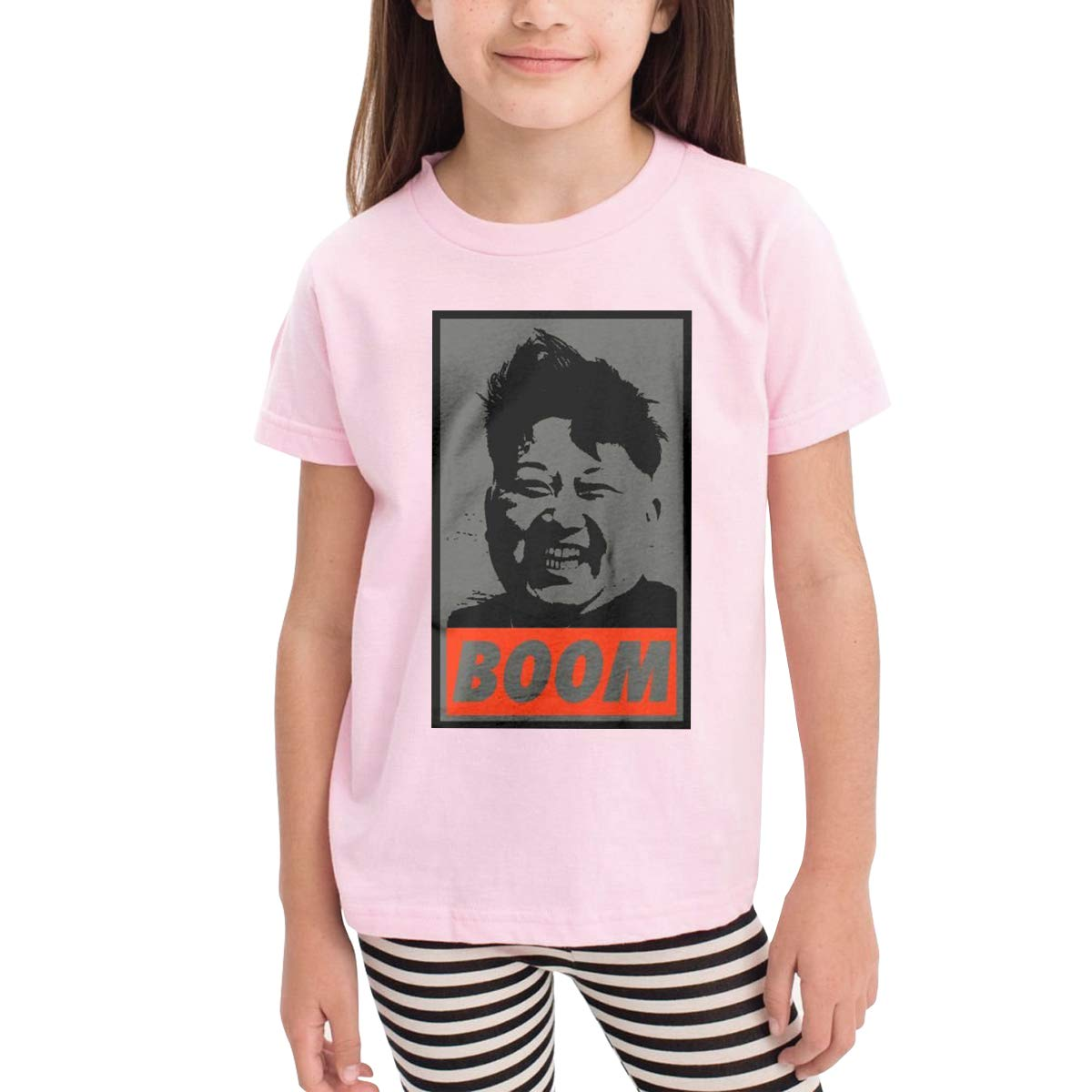 DONGLY 6-24 Month Baby T-Shirt Kim Jong Un Boom Nordic Winter Personality Wild Pink