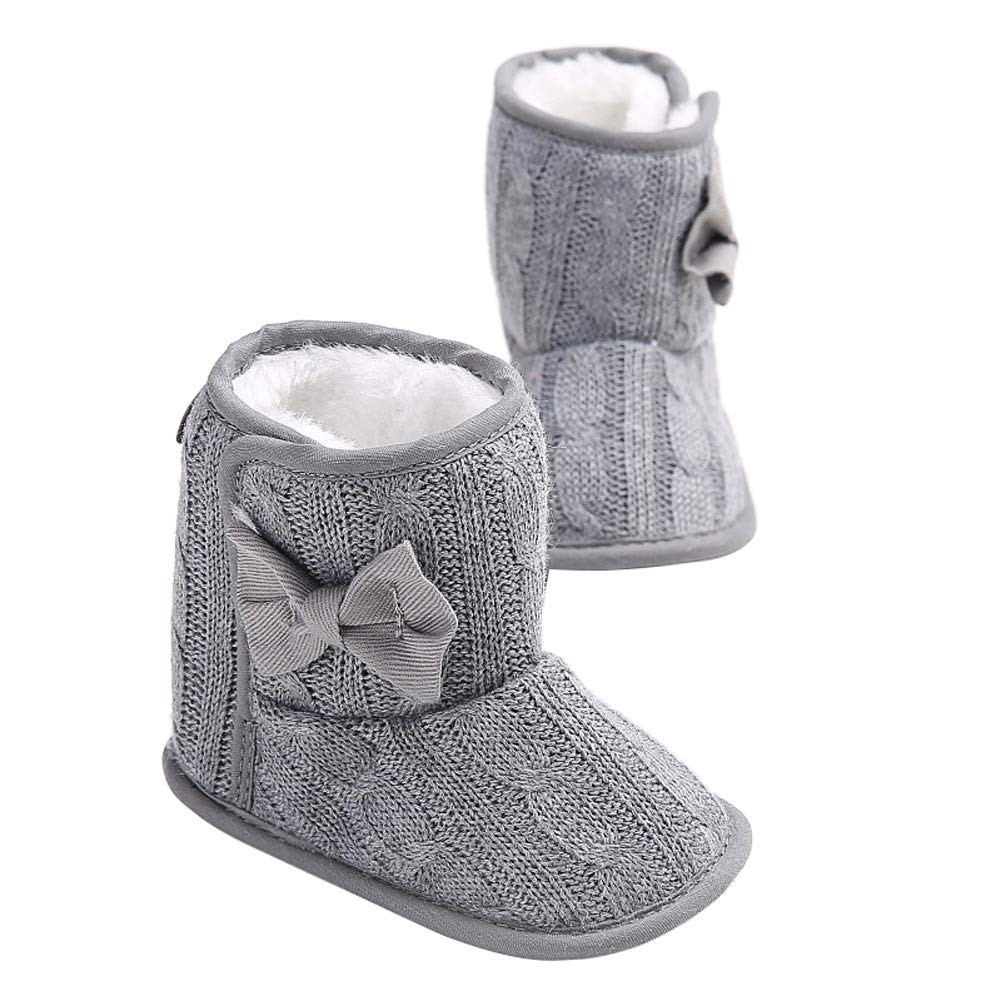 Wollanlily Baby Winter Snow Boots Premium Knit Anti-Slip Soft Sole Girls Boys Infant Toddler Prewalker Crib Shoes(Large(12-18 Months),Gray) by Wollanlily (Image #7)