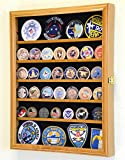 56 Challenge Coin Display Case Cabinet - Fully Adjustable Shelves - Larger Coins - 98% UV Protection (Oak Finish)