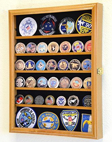 56 Challenge Coin Display Case Cabinet - Fully Adjustable Shelves - Larger Coins - 98% UV Protection (Oak Finish) Oak Challenge Coin