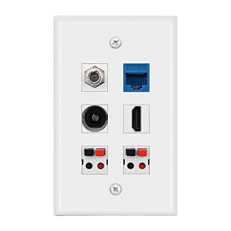 IMONTA 1-Gang 6 Port Wall Plate, 2 Speaker + HDMI HDTV + CAT6
