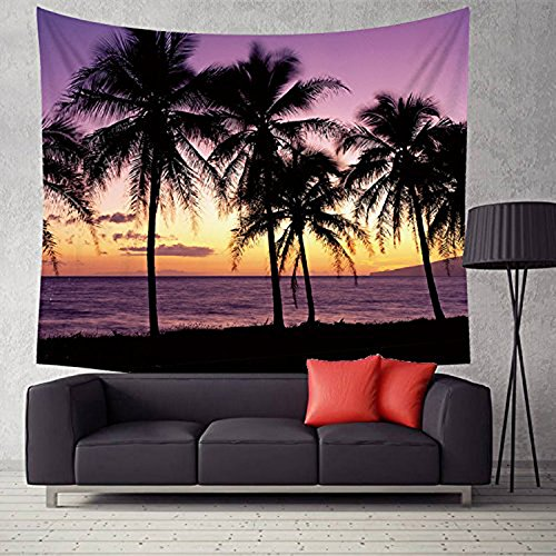Exotic Tapestry - Nature Tapestry Wall Hanging Palm And Ocean At Sunset Tapestries Exotic Beach Water Wall Decor for Bedroom Living Room Dorm Decor 59X51 Inch