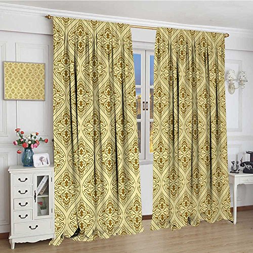 smallbeefly Damask Blackout Window Curtain Victorian Vintage Royal Ornamental Tiles Middle Age Renaissance Pattern Patterned Drape For Glass Door 96