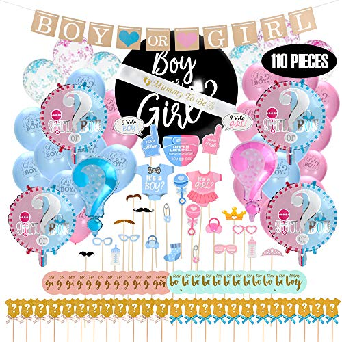 Baby Gender Reveal Party Supplies Kit – Boy & Girl Party Reveal Décor – With Stickers, Mom Sash and Photo Props for Boy & Girl – Surprise Baby Party– Easy - Supplies Party Reveal Gender Baby