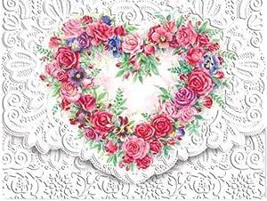 Carol Wilson Fine Arts Inc. Rose Heart Portfolio Embossed Die Cut Notecards (ncp2149)