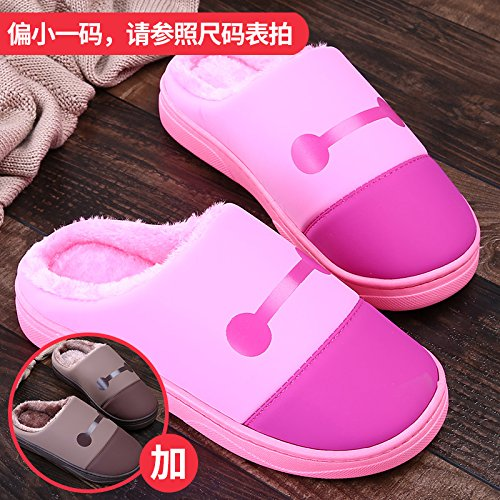 LaxBa Femmes Hommes chauds dhiver Chaussons peluche antiglisse intérieur Cotton-Padded Slipper Chaussures Rose + brun38/39 + 42/43