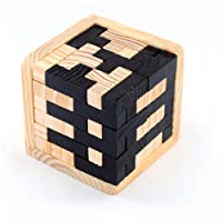 3D Wooden Brain Teaser 54 T-shaped Tetris Blocks Geometric Intellectual Jigsaw Logic Puzzle Educational Toy for Kids and Adults