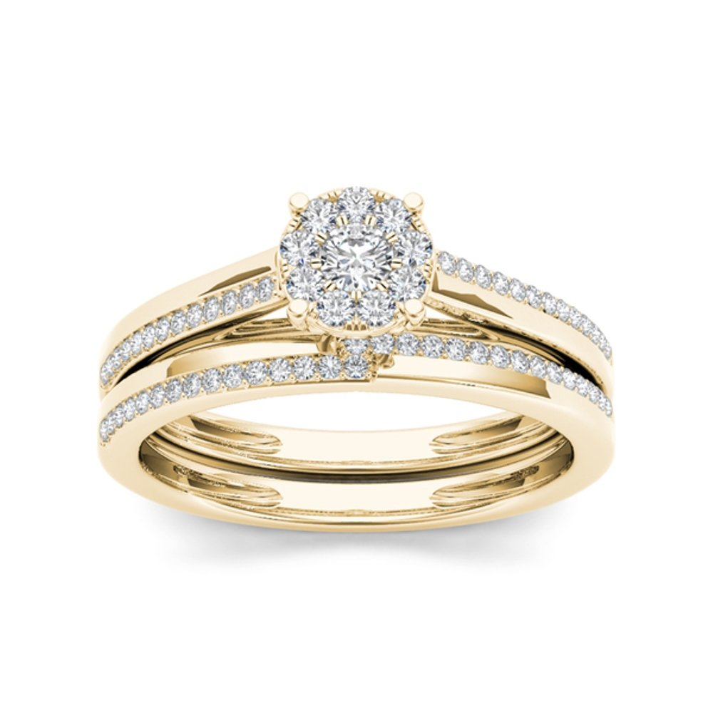 Pretty Jewellery 10k Yellow Gold Over Sterling Silver Diamond Cluster Engagement Wedding Bridal Ring Set RG10541