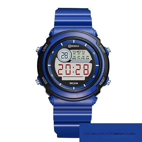 JHGFRT Reloj Electrónico Niño Niña Impermeable Multifunción Reloj Digital Luminoso Despertador Alumno Niños Reloj,Seablue